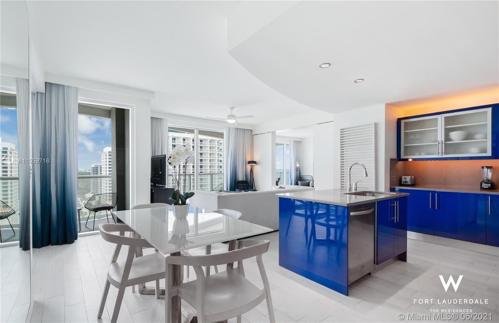 Fully furnished, 2-bedroom/2-bathroom residence offers Northern Intracoastal/city views and partial