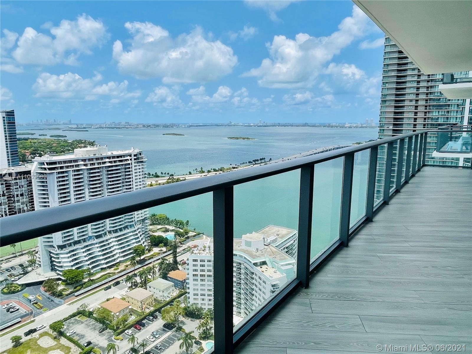 One of a kind condo in Paraiso Bayviews. BAY  and Miami skyline views from the wraparound balcony.