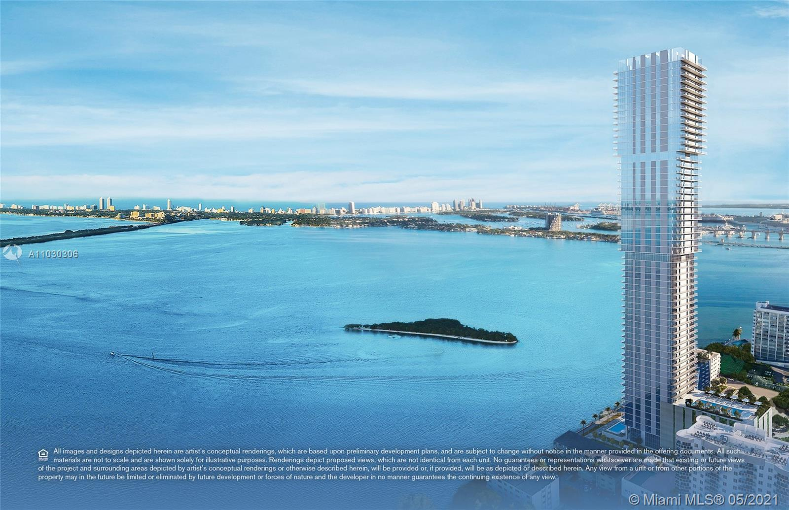 Middle tier residence at Elysee, the first luxury boutique building in Edgewater. Offering 4B + Den/
