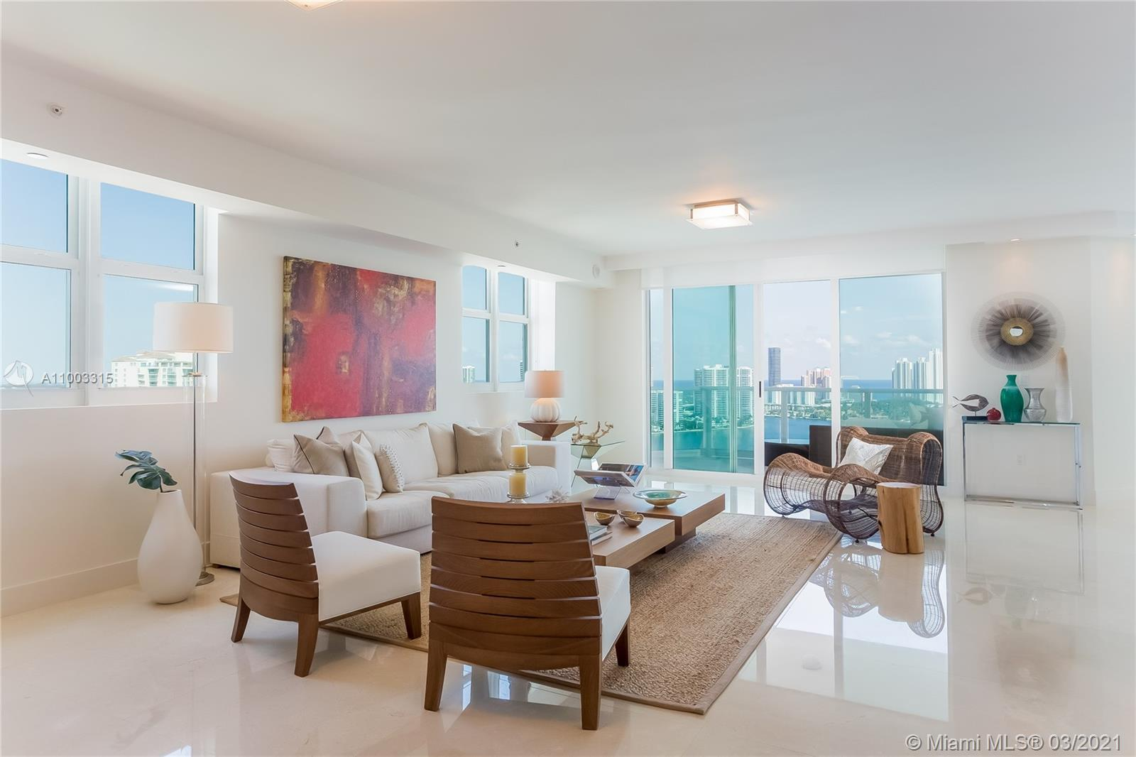 Spectacular High floor Corner unit. Panoramic views of the ocean, intracoastal and city. Three over