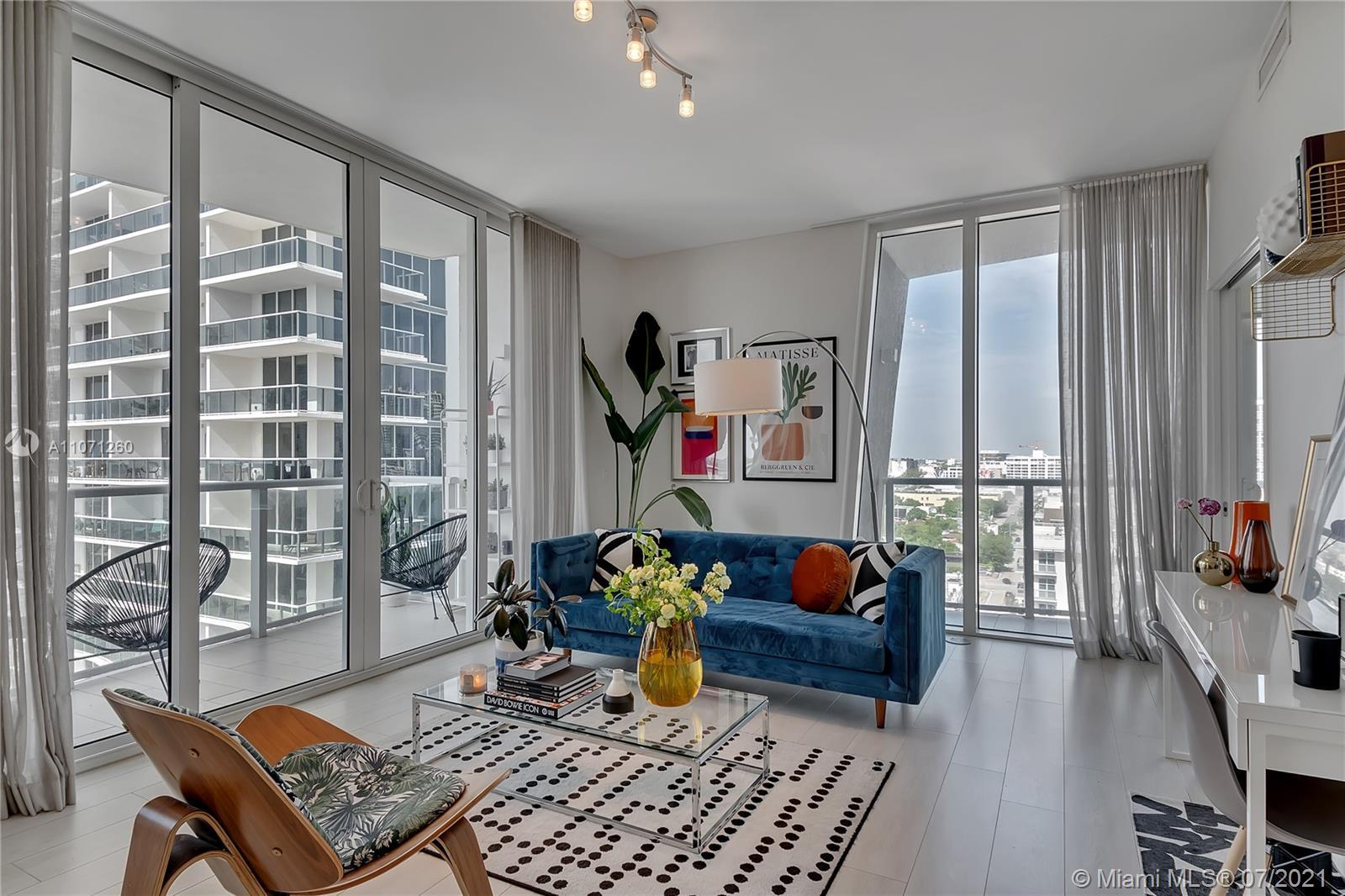 A beautiful condo overlooking the bay and city at boutique building, Crimson, in Edgewater. This 1,2
