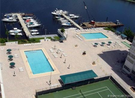 Fantastic two oversize bedrooms waterfront unit located in the heart of Aventura. Remodeled open kit