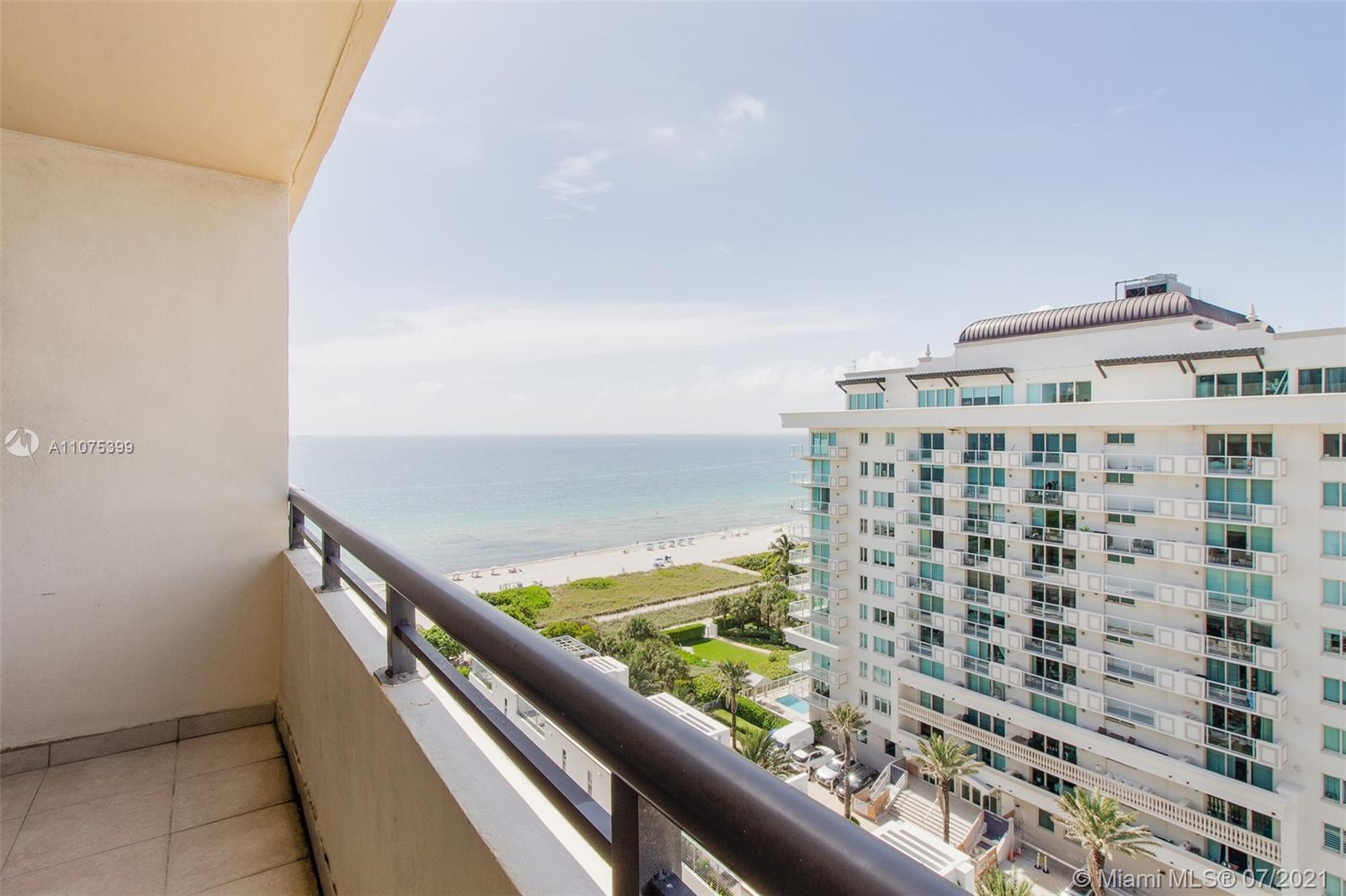 Enjoy beautiful views of the ocean and city from this large 1 bedroom/ 2 bath + den on a high floor