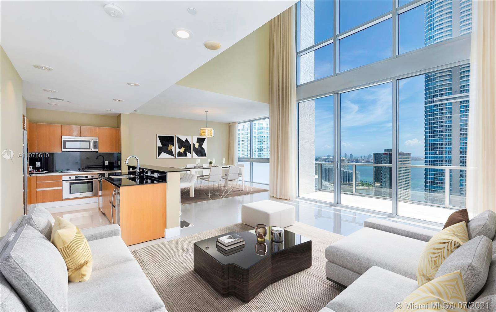 Beautiful two-story Penthouse on Brickell Avenue. Spacious floor plan which spans both the upper 34t