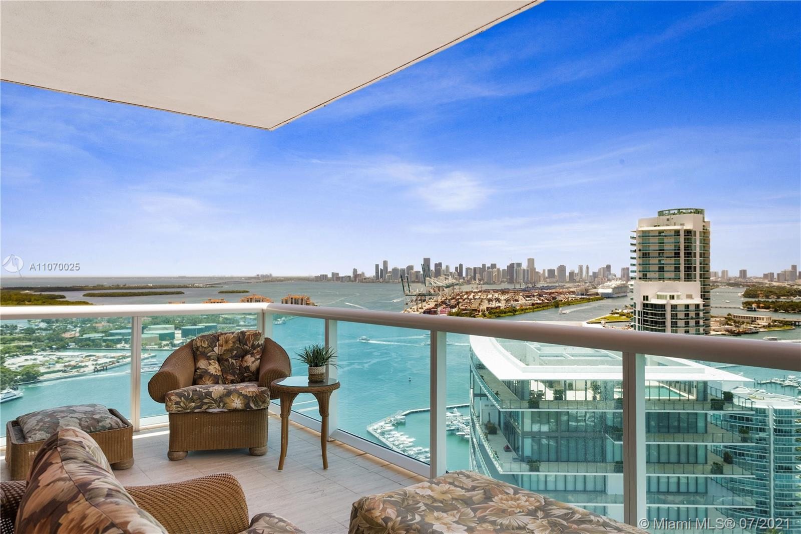 Incredible 3 bed/ 3,5 bath residence w/over 2,500 SF of living area + 2 balconies at the Iconic Port