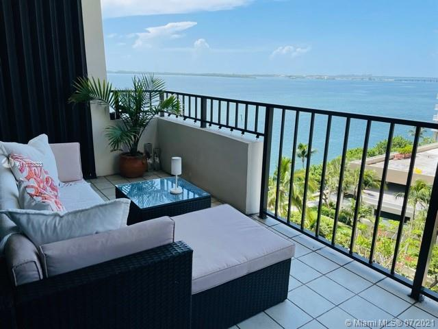 Spectacular Bay views from this large 2 bedroom 2 bath unit on exclusive island of Brickell Key. Thi