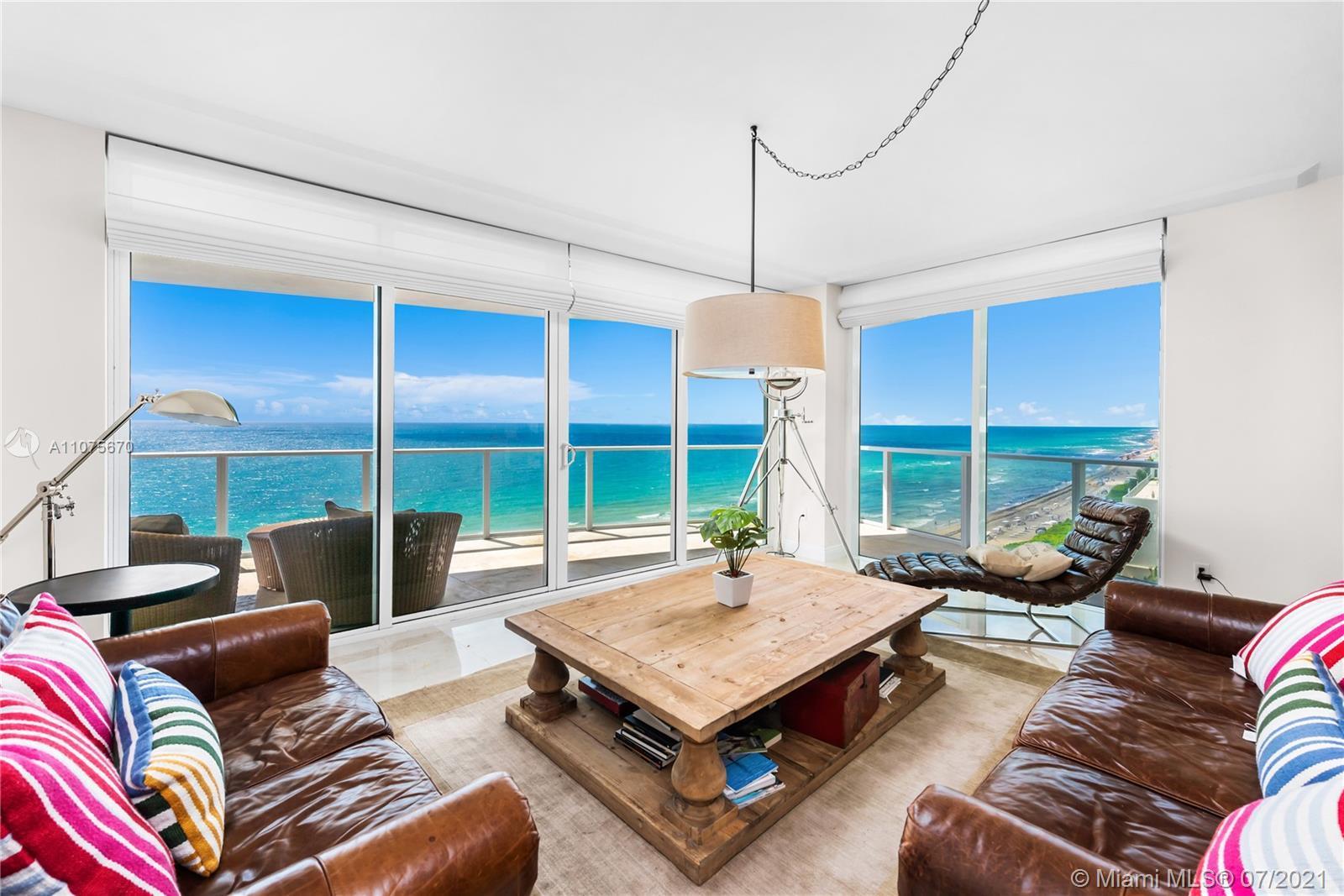 Located at the 11th floor of luxurious ocean front condominium, Apogee Beach. Corner unit facing Sou