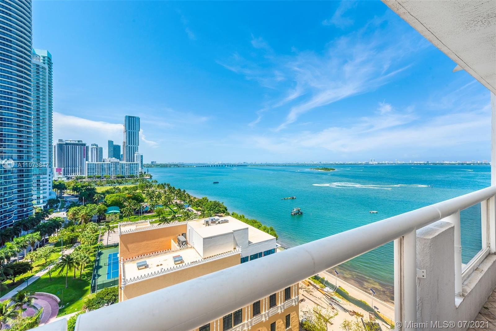 Enjoy an incredible wide view of Biscayne Bay at The Grand. This large 1 bed/ 1.5 bath is one of the