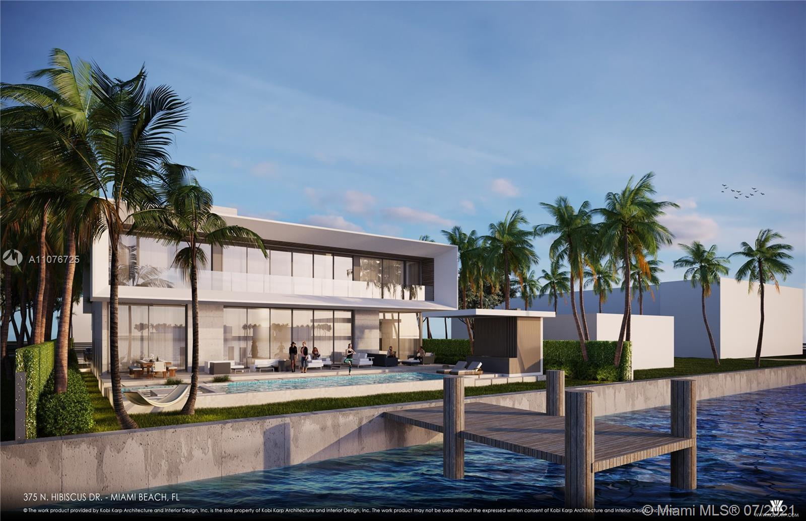 Ultra-luxury waterfront on Hibiscus Island offering serene views of the bay and Edgewater skyline, d