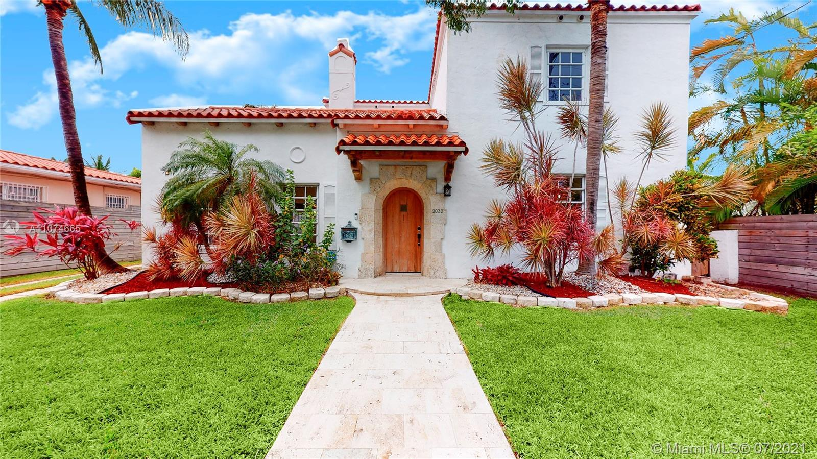 Located across Miami Beach golf course and three blocks from Lincoln Road. This Mediterranean 2 sto