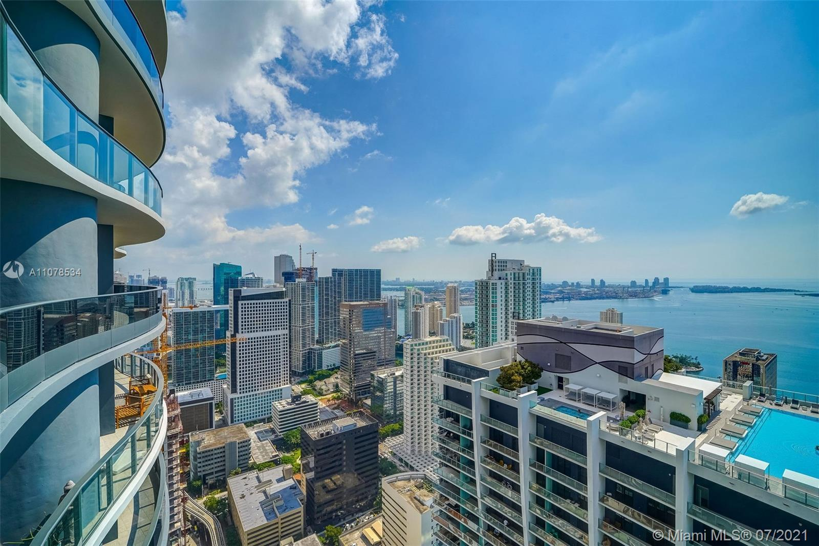 56th floor Penthouse with direct East views overlooking the Atlantic Ocean, Biscayne Bay, Brickell &