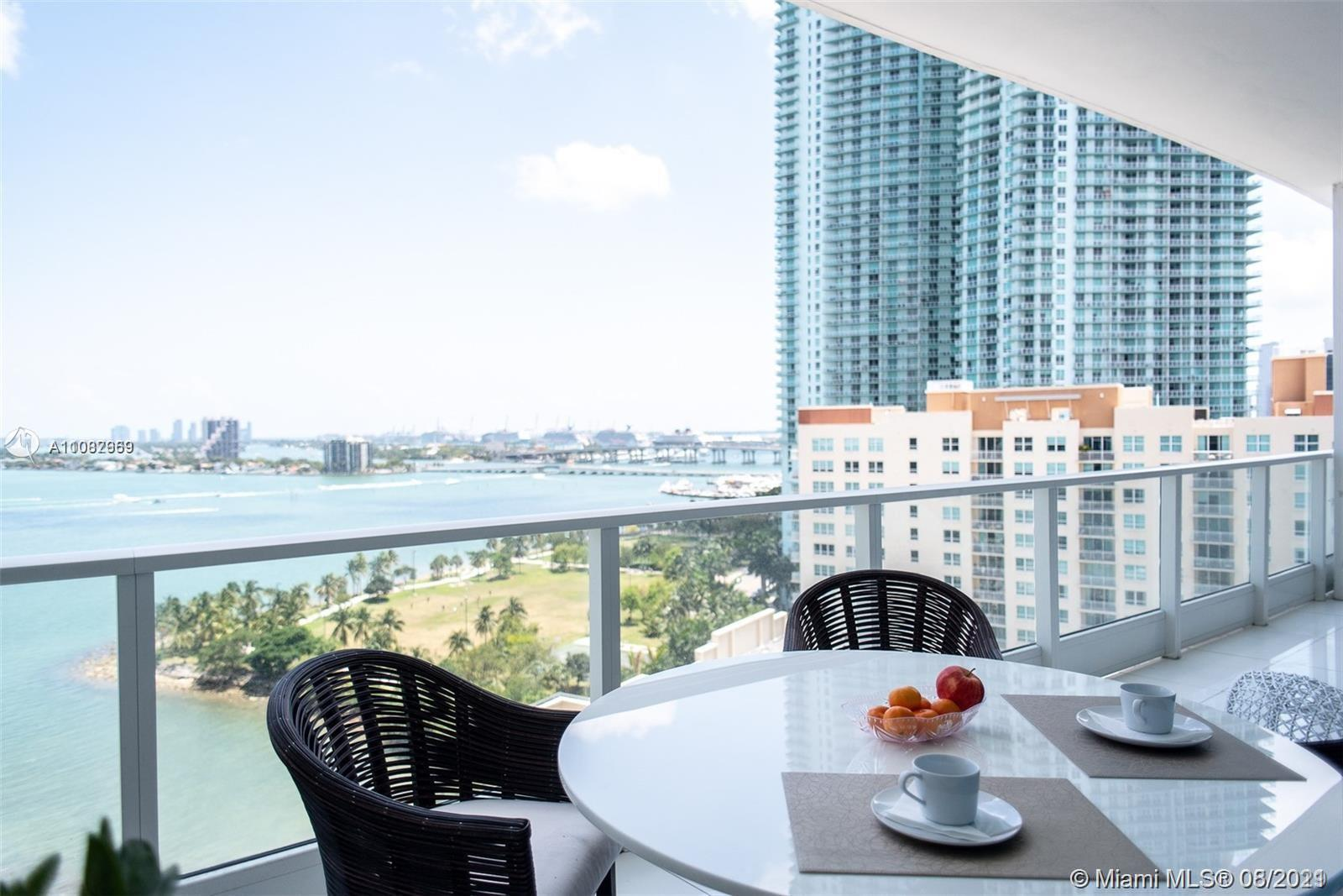 Amazing direct views of the Biscayne Bay and Miami Beach from this completely furnished 2 bedroom +