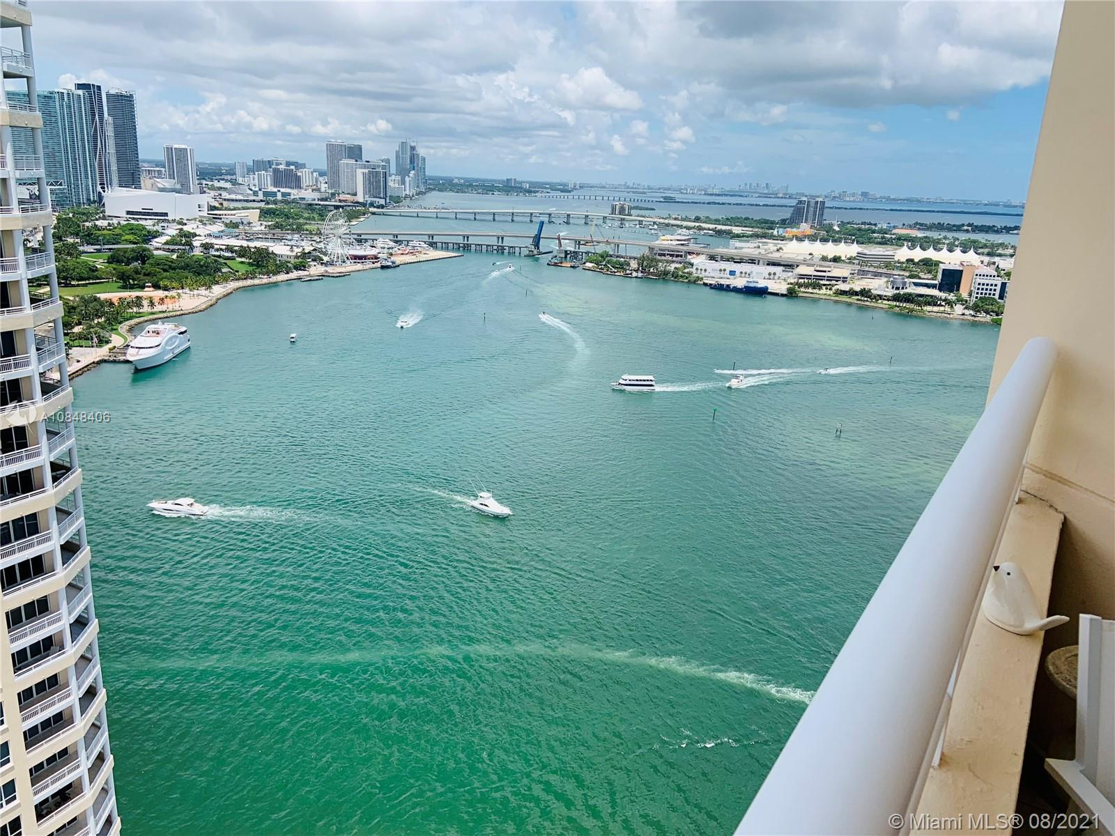 Largest 1 bed 1.5 baths apartment in prestigious Two Tequesta Point building in Brickell Key Island.