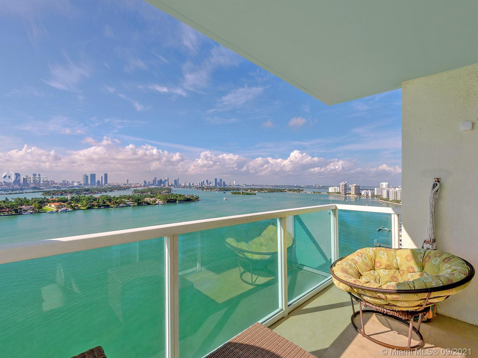 Fantastic views of downtown Miami, Fisher Island, Star Island and the beautiful waters of Biscayne B