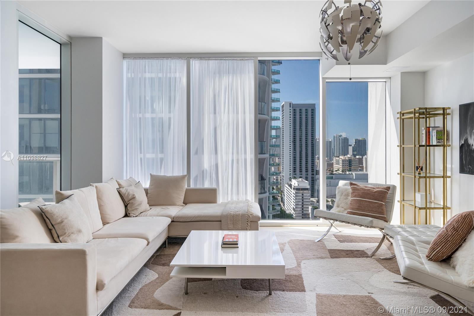 One bedroom and one-and-a-half bathroom residence at the coveted Ten Museum Park. 8' ceilings and a