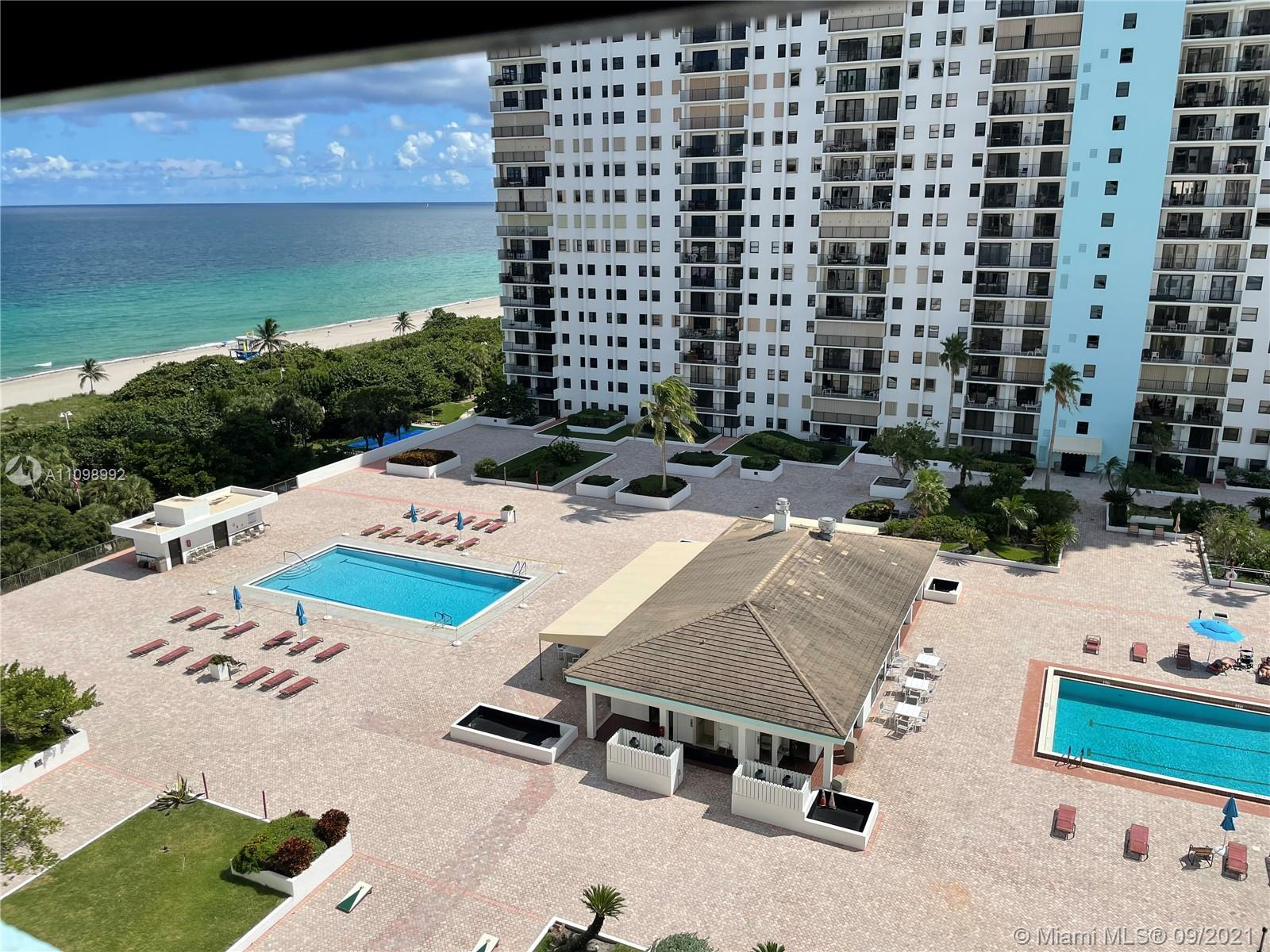 Large 1,120 square feet 1 bed room with Long Double Balcony at the Beachfront Building. Open Bright
