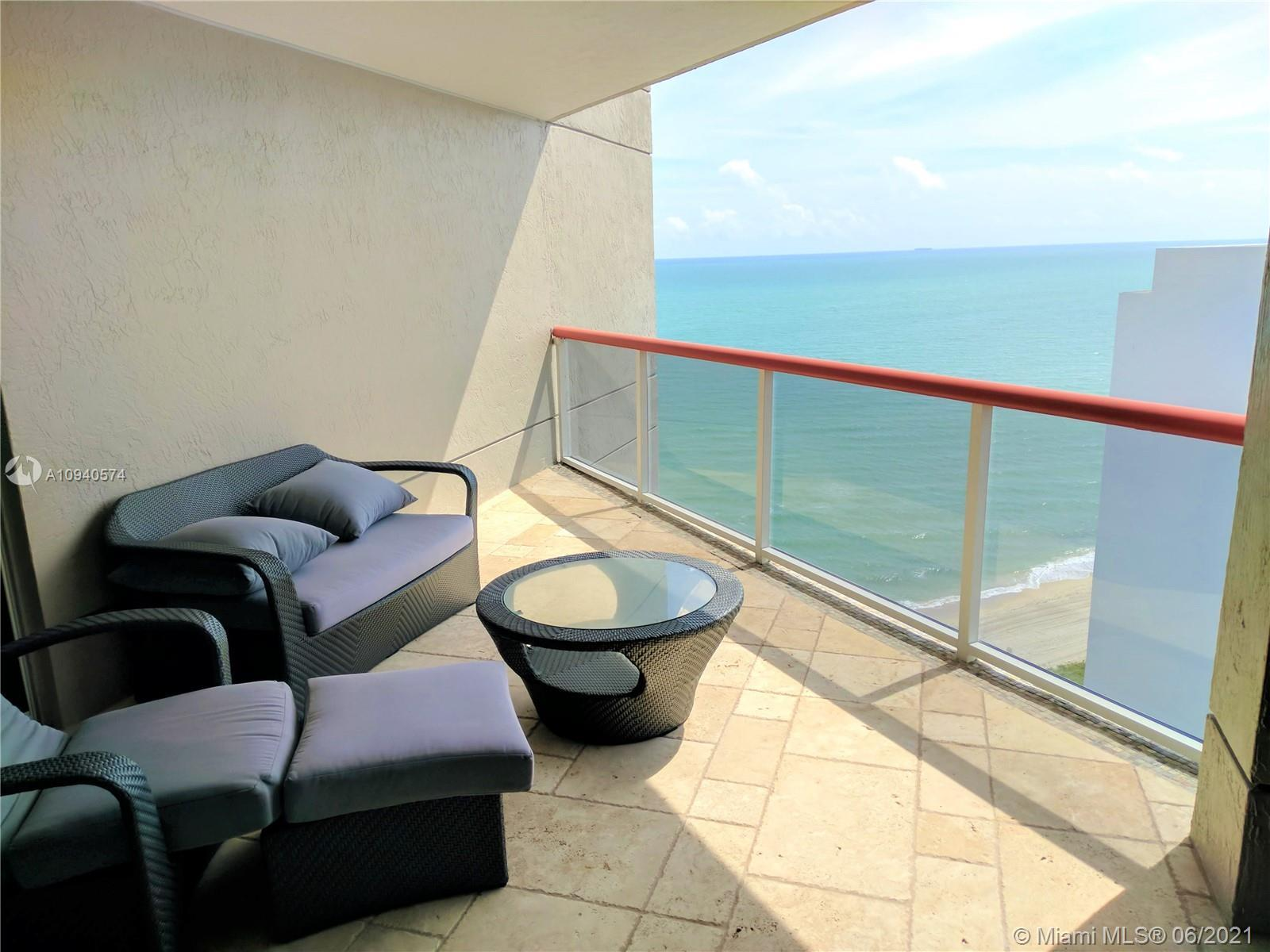 Turnkey, beautifully furnished 2/2, oceanfront, high-floor unit in The Sterling. Enjoy the beach lif