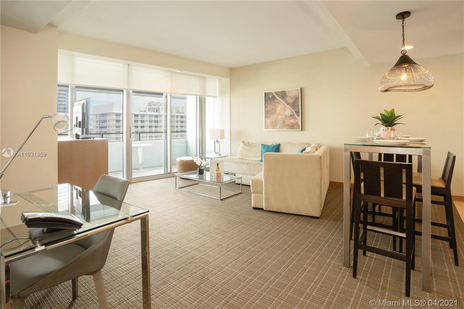 Conrad Miami Residence 1 Bedroom 1 bath breathtaking views of Brickell Skyline and of The Bay Furni