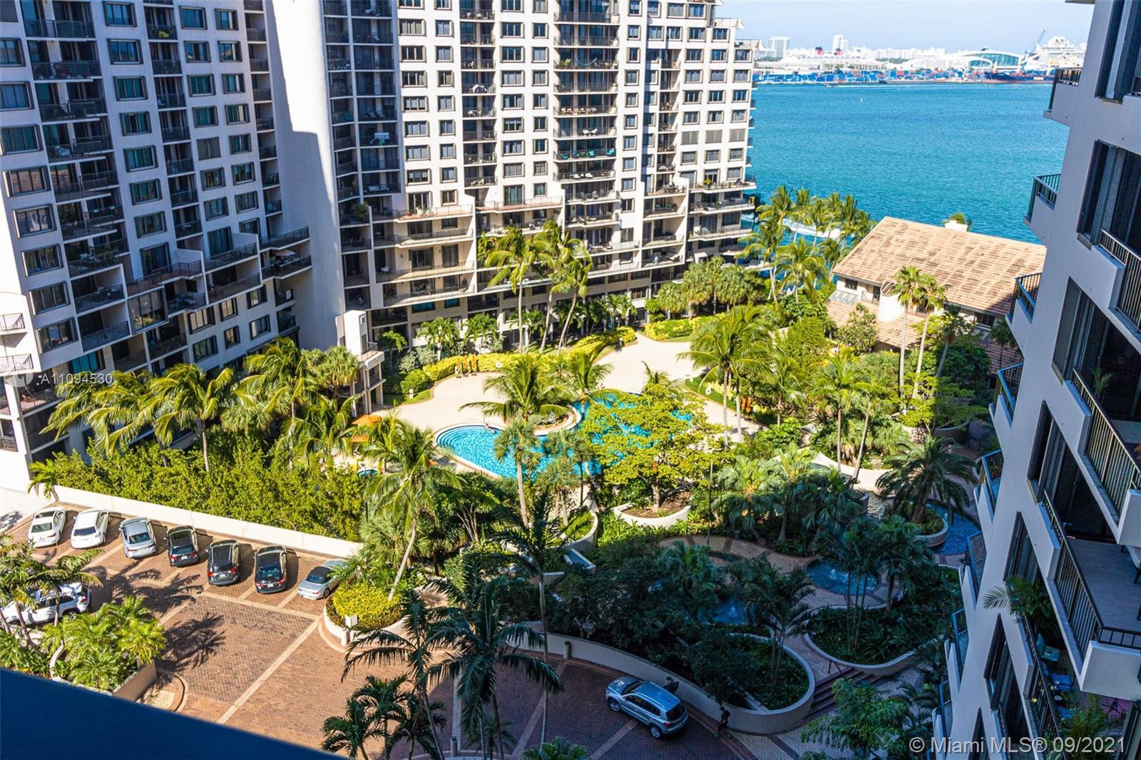 Located on the exclusive Brickell Key Island this spacious 2 bedrooms unit is one of the largest in