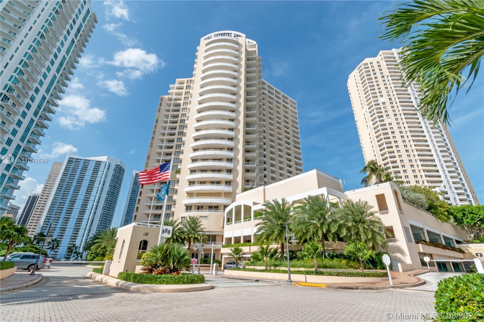 Live on the Exclusive Private Island of Brickell Key. This UNIT has been REMODELED w/OPEN FLOOR PLAN