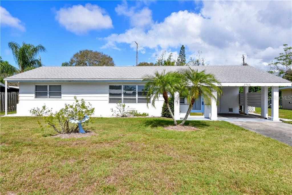 OPPORTUNITY AWAITS! Easy to show! Close to the beach and shopping, dining, schools, and centrally located! Well looked after charming Florida home has been connected to sewer and city water, updated Square D panel, newer HVAC ('08) Home features Terrazzo floors and larger room sizes. Features a separate storage shed and Florida room. Unique original built-ins and design features. Great income potential for seasonal or long term rentals, non-deed restricted neighborhood. Washer/Dryer included, and Furnishings are optionally available as well (Turnkey or mix).