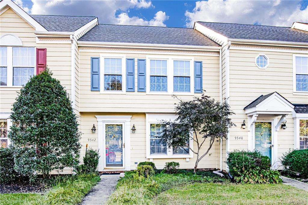 Welcome to 9542 Sara Beth Circle located in Glen Allen! This nice townhouse features 3 bedrooms and 2.5 baths. The first floor features a large eat in kitchen, family room and laundry room. The kitchen features white cabinets and the stove is brand new. The second floor features a large primary bedroom with private bath and two other bedrooms. The owner had new carpet installed on the steps and throughout the second floor. The fenced back yard features a deck and detached storage shed backing up to a wooded area.