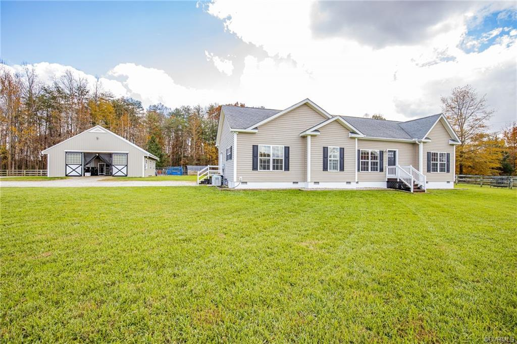 Welcome to the Country!  Quality custom built home on 5 acres of cleared fields, fenced pastures and