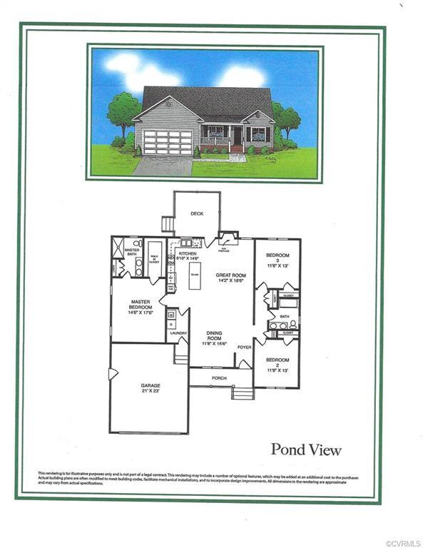 The Pond View is an approximately 1600 square foot transitional rancher with 3 bedrooms, 2 full bath