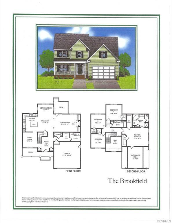 "The ""Brookfield"" plan features 4 bedrooms, 2 1/2 baths, large family room with gas fireplace, nice k"