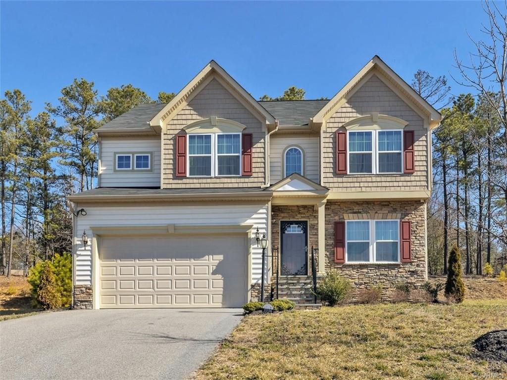 Welcome to 5336 Jennifer Pond Way in East Henrico's Oakleys Chase subdivision. This stone & vinyl-sided move-in ready home was built in 2016 & consists of 4 bedrooms & 2.5 bathrooms on 2,432 sqft of living space. Upon entering you are greeted with high ceilings & a bright open concept floor plan. The formal living room & family room both feature carpeted floors & open to the large eat-in kitchen. The kitchen features stainless steel appliances (that convey to the new owner), pantry, recessed lighting, island, breakfast bar & morning room that has direct walk-out access to the rear deck. The second floor is fully carpeted and features a primary suite with walk-in closet & ensuite bathroom with tub, walk-in shower & double vanity. This level is completed with 3 nicely sized bedrooms, a 2nd floor laundry room, pull-down attic storage & full hallway bathroom. The home is completed with a paved driveway, 2-car garage, tankless gas water heater, custom security doors & upgraded video security system already installed. This quiet community features an HOA maintained park & playground. Centrally located to quick shopping, I64/95, I295, Richmond Airport & only a short drive to downtown RVA!