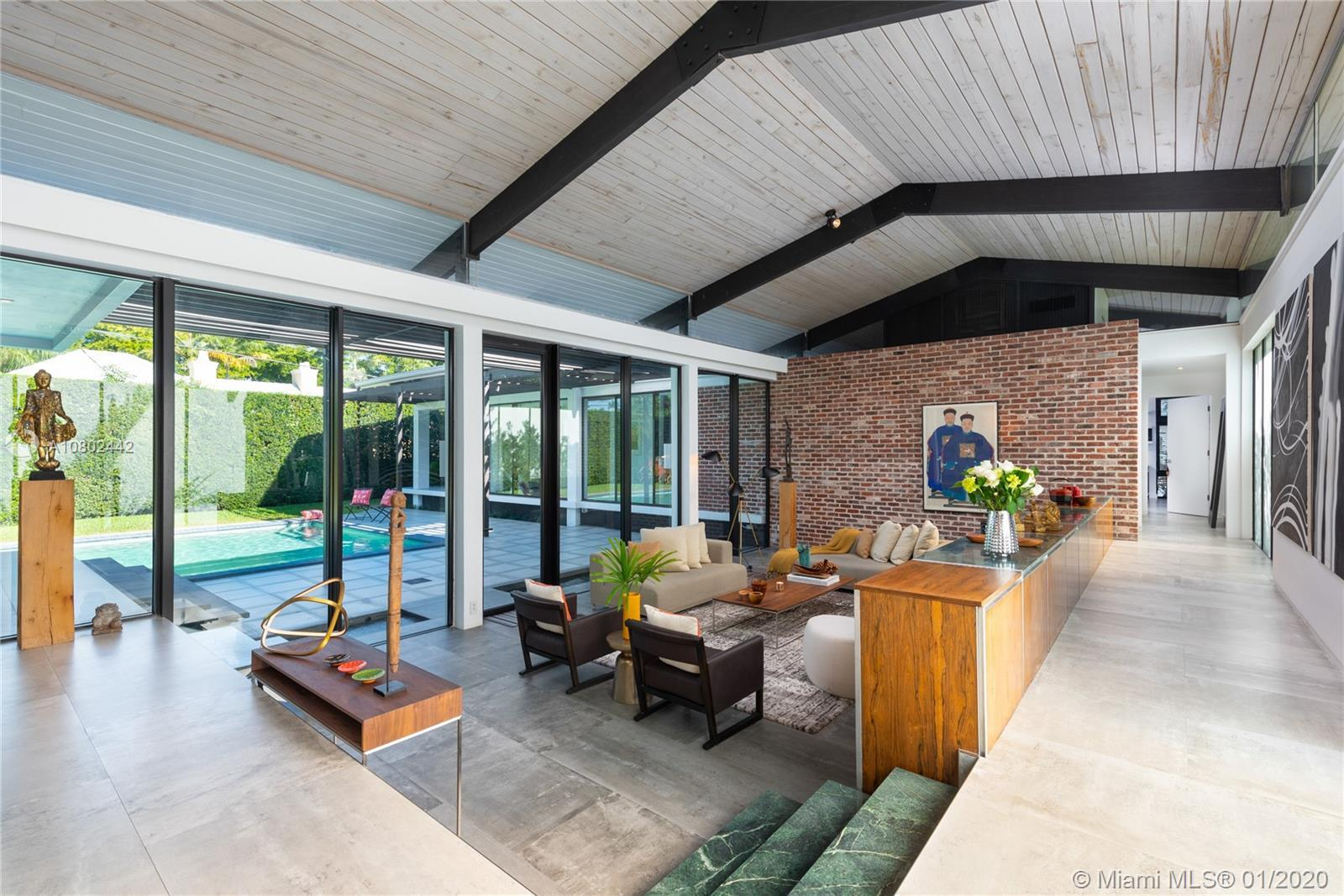 Timeless midcentury modern, 1 of a kind, Henry End designed architectural gem in Miami Shores exudes